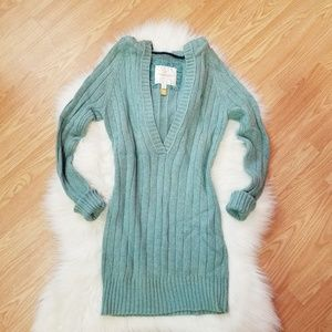 AE Long Hooded Sweater with a Deep V-Neck